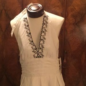 NEW white with black embroidery Halter Dress